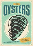 Fresh oysters retro poster design vector illustration