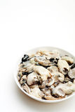 Fresh oysters on a white bowl Royalty Free Stock Photos