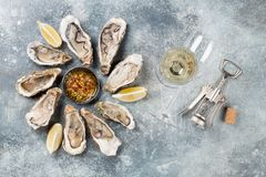 Fresh oysters and white wine. On stone table. Top view Stock Photos