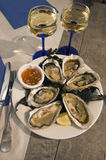 Fresh oysters and wine. French cuisine. Royalty Free Stock Images