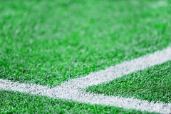 Fresh paint stripes on soccer field Royalty Free Stock Image