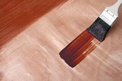 Fresh paint on wooden surface Stock Image