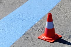 Fresh painted blue line for short-term parking zone Stock Image