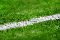 Fresh painted sideline on soccer field Royalty Free Stock Images