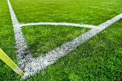 Fresh painted sideline on soccer field Stock Image