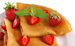 Fresh pancake with strawberry Stock Photography