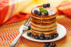 Fresh pancakes with blueberries Royalty Free Stock Image
