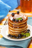 Fresh pancakes with blueberries Royalty Free Stock Images