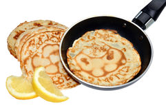 Fresh Pancakes And Frying Pan Stock Photography