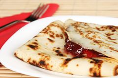Fresh pancakes in menu Royalty Free Stock Images
