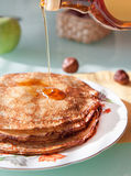 Fresh pancakes with syrup Royalty Free Stock Photography