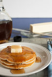 Fresh Pancakes and Syrup Royalty Free Stock Images