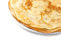 Fresh pancakes on a white plate Stock Image