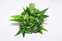 Fresh Pandanus leaf weave to rose bouquet Stock Image