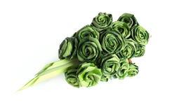Fresh Pandanus leaf weave to rose bouquet Royalty Free Stock Photo
