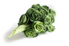 Fresh Pandanus leaf weave to rose bouquet Stock Image