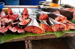 Fresh Pangasius fish that were cut for sale. Pieces of fresh Pangasius fish that were cut for sale in asian market Stock Photos