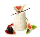Fresh panna cotta dessert stock photos