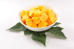 Fresh papaya slices in fruit bowl, Stock Images