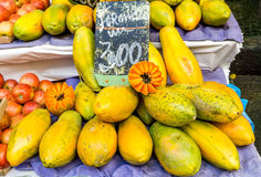 Fresh Papayas at the Market Stock Image