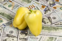 Fresh paper and money. Two fresh sweet yellow pepper arranged one beside the other on dollar bills Stock Images