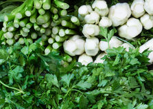 Fresh Parsley and bok choy bunches Stock Photo