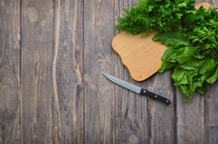 Fresh parsley , dill, spinach, sorrel on a cutting board and a k. Organic Parsley , dill, spinach, sorrel closeup on wood background, healthy vegetarian food royalty free stock image