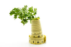 Fresh parsley. With dimension tape royalty free stock image