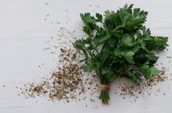 Fresh parsley on white background stock photo