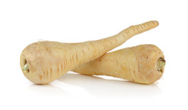 Fresh parsnip roots on  white background Royalty Free Stock Photo