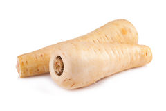 Fresh parsnip roots on a white background Stock Images