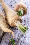 Fresh parsnips on old wooden table. Royalty Free Stock Photos