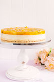 Fresh passion fruit cheesecake dessert Stock Images