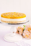 Fresh passion fruit cheesecake dessert Royalty Free Stock Photos