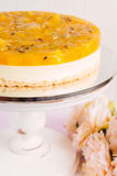 Fresh passion fruit cheesecake dessert Royalty Free Stock Images