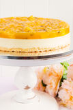 Fresh passion fruit cheesecake dessert Royalty Free Stock Image
