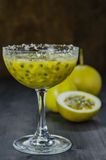 Fresh passion fruit juice in glass Royalty Free Stock Photography