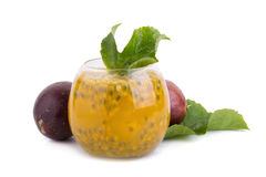Fresh passion fruit juice with passion fruits on white Royalty Free Stock Photography