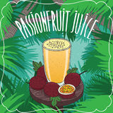 Fresh passion fruit or passionfruit juice Stock Image