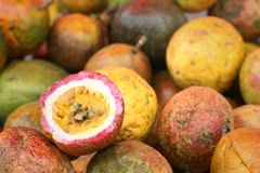 Fresh passion fruit on a table at the market.  Royalty Free Stock Photos