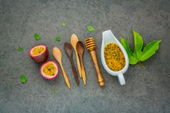 Fresh passion fruits set up on dark stone background. Passion fr Royalty Free Stock Image