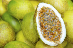 Fresh Passionfruit Maracuja at Brazilian Farmers Market Royalty Free Stock Images