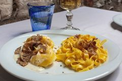Delicious Fresh pasta with black and white truffles stock photography