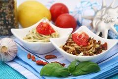 Fresh pasta with chili Stock Photos