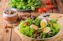 Fresh pasta egg salad Royalty Free Stock Photo