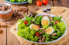 Fresh pasta egg salad Stock Photos