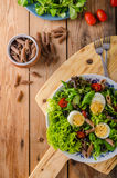 Fresh pasta egg salad Royalty Free Stock Image