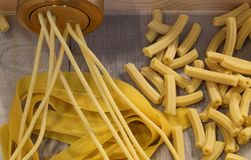 Fresh pasta home made with machine Stock Photography