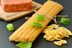 Fresh pasta and  ingredients Stock Photography