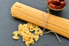 Fresh pasta and  ingredients Stock Images